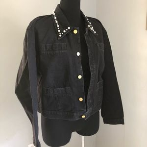 Vintage Pearl Embellished Black Denim Jacket Sz L